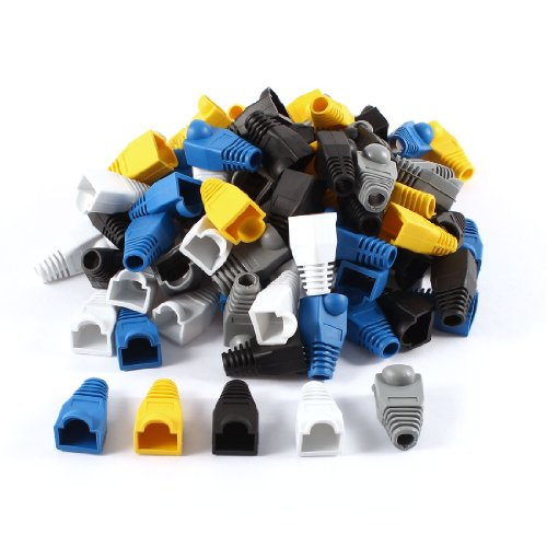 uxcell® 100 Pcs Soft Plastic Ethernet RJ45 Cable Connector Boots Plug Cover