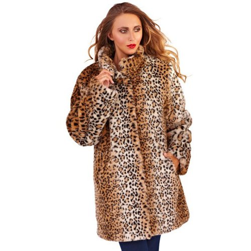 Pistachio - Cappotto - Stampa animalier - Maniche lunghe - Donna, Brown and Cream, Medium