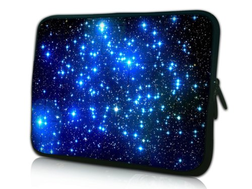 15 Inch Unremitting Universe With Twinkling Blue Stars Facsimile Sided Print Design Laptop Slipcase Bag Netbook Sleeve Deal with Notebook Carrying Case for Macbook Pro Vaio Acer Asus Dell HP Sony Toshiba
