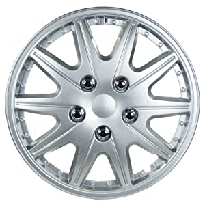 Four ABS Plastic Silver Colored Hubcaps – 14 Inch Diameter