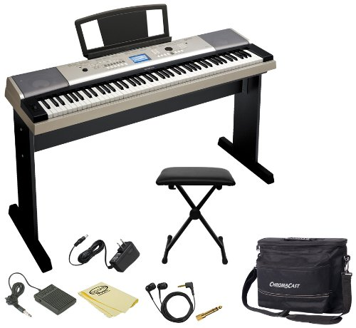 Yamaha Ko-Ypg-535-Kit-1 88-Key Grand Piano Keyboard With Music Rest, Adapter, Pedal, Polish Cloth, Chromacast Bench And Musicians Gear Bag