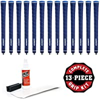 Lamkin UTx Wrap 0.580 Grip Kit With Tape, Solvent And Vise Clamp (13-Piece), Blue, Standard
