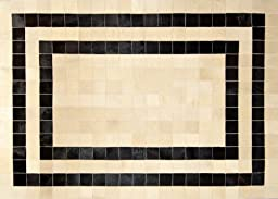 Hand-stitched Cowhide Leather Patchwork Designer Area Rugs \'Black Ora\' (5\'x7\' (150cms x 210cms))