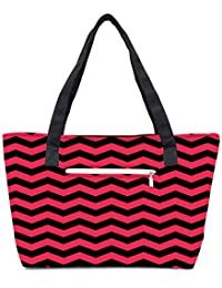 Pack Of 2 Black And Pink Waves 2568 Combo Tote Shopping Grocery Bag With Coin Pencil Purse