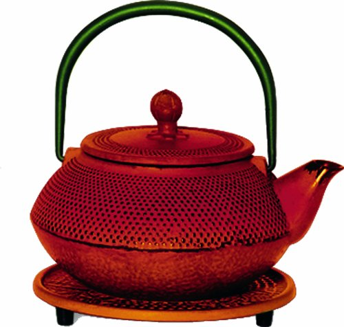 G&H Tea Services Miyazaki Japanese Tetsubin 20-Ounce Teapot And Trivet, Red