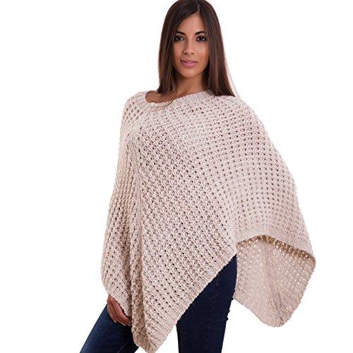 Toocool - Poncho donna maglione cappa tricot traforato lana alpaca maglia nuovo CJ-1834 [Taglia unica,BEIGE]