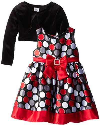 Youngland Little Girls' Allover Dot Print Occasion Dress With Shrug, Black/Multi, 3T