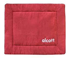 Alcott Essentials 24 by 19-Inch Fleece Crate Mat, Small, Red and Grey
