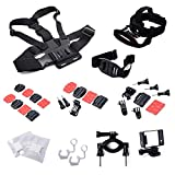 XCSOURCE® Accessories Set 10 pcs Chest strap + Head Strap + Helmet Strap + Helmet Front Mount Set + Helmet Side Mount Set + Handlebar Holder + Protective Frame + Flat / Curved Mount with Adhesive + Anti Fog Inserts + Locking Plug for GoPro Hero 1 2 3 3+