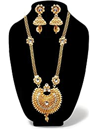 JewelMaze White Austrian Stone Gold Plated Long Haram Necklace Sets-AAA1867