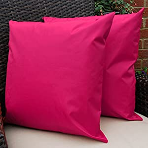 Waterproof Garden Cushions for Chairs - Cane Filled Cushions for Seats and Benches - Colourful Outdoor Cushion (1, Pink) by Comfort Co®