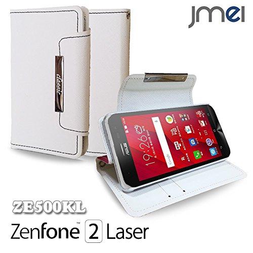 ZenFone2 Laser ZE500KL カバー jmeiオリジナル手帳型カバー classic ホワイト 楽天モバイル simフリー ASUS エイスース ゼンフォン 2 レーザー スマホケース 全機種対応 スマートフォン ケース