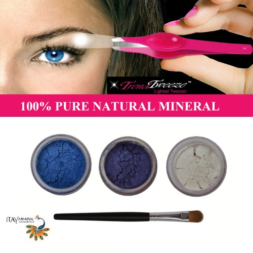 "Itay ""True Blue"" Mineral Eye Shimmers+Stainless Steel Led Lighted Trend Tweezers front-63824"