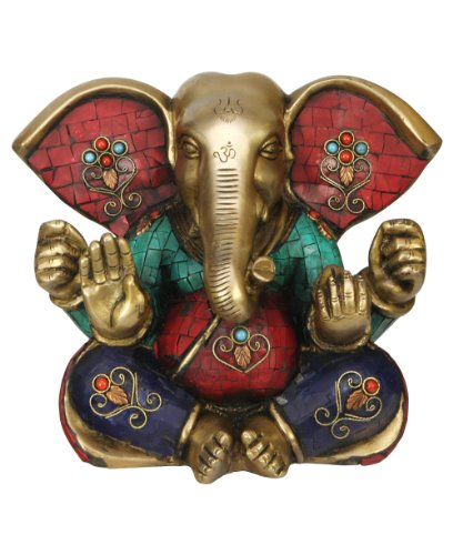 Colorful Brass Ganesh Statue