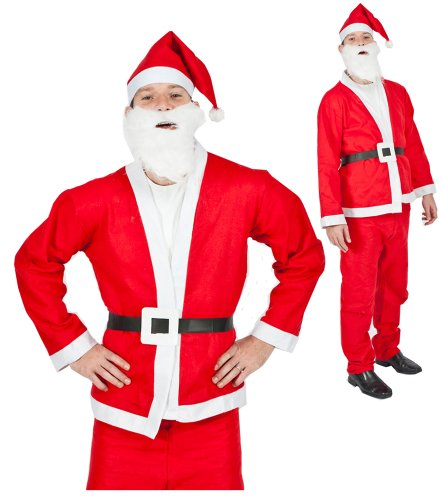 Father Christmas Santa Clause Red Fancy Dress 5 Piece Suit- XL