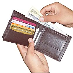 Brown UnisexLeather Wallets with 8 Card Holder