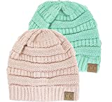 Winter White Ivory Thick Slouchy Knit Oversized Beanie Cap Hat,One Size,2 Pack: Sage/Indie Pink