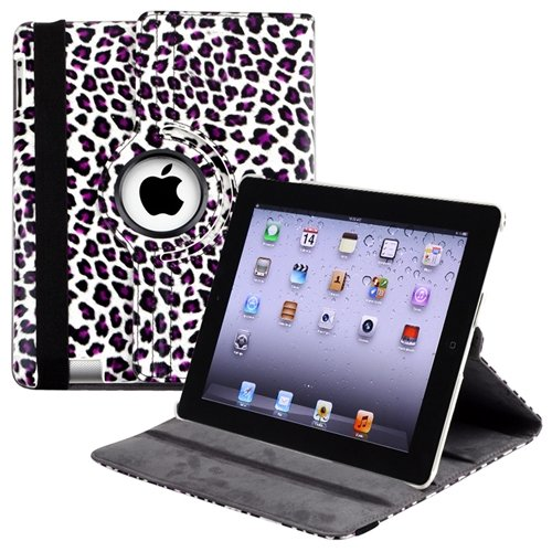 360-degree Swivel Leather Case Compatible with Apple® iPad® 2 / iPad® 3rd Gen / The new iPad®, White / Purple Leopard