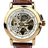 Orkina Mens Gold Case Transparent Dial Mechanical Leather Strap Wrist Watch MG015LGB