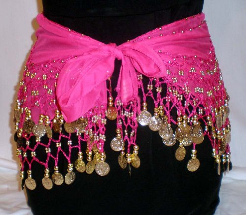 Hot Pink Belly Dance Skirt With Gold Coins (Great Gift Idea)