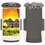 MINITURTLE, 2 in 1 Mesh Hybrid Hard Phone Case Cover, Jaw Phone Stand, and Clear Screen Protector Film for Htc Mytouch 4g 2010 /T-mobile (Grey / White)