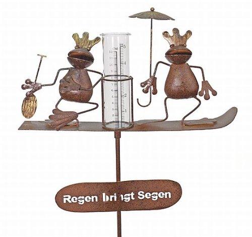 Kuheiga Pluviomètre décoré de rois grenouilles avec piquet Hauteur env. 140cm
