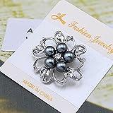 Ecloud Shop® Elegante Broche de bodas de plata Crystal White Pearl novia de la flor