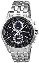 Seiko Men's Stainless Steel, Black Dial Chronograph SNAE83P1