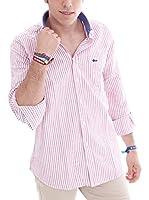 VICKERS Camisa Hombre Harvard (Rosa / Blanco)
