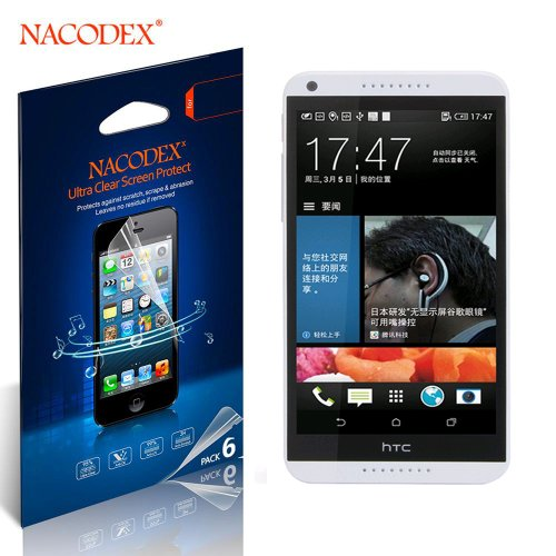 Nacodex® 6X Hd Clear Screen Protector Film For Htc 816 Lcd Cover Guard Shield [ 6Pcs Screen Protectors + 2X Cleaning Cloth + 1X Smoothing Card] [ W/Tracking No.]
