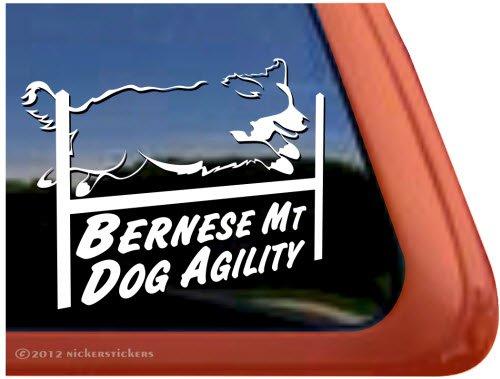 Bernese Mt Dog Agility ~ Agility Bernese Mountain Dog Vinyl Window Decal Dog Sticker front-596752