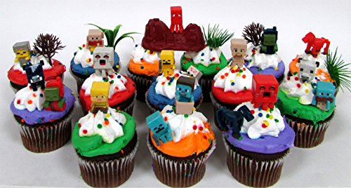 MINECRAFT-24-Piece-Birthday-CUPCAKE-Topper-Set-Featuring-Mini-Minecraft-Figures-and-Decorative-Themed-Accessories-Figures-Average-12-to-1-Inch-Tall