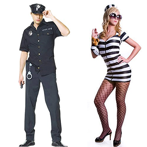 HDE His & Hers Cops & Robbers Adult Halloween Couples Costumes