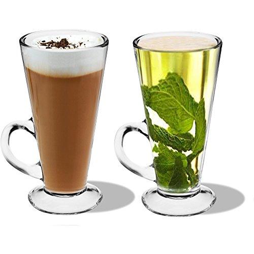 Lot de 2 verres Latte-Britannique - Coupes Tasses en verre pour le café ou le thé - 280ml - 15cm de hauteur