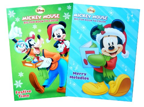 "Disney's Mickey Mouse ""Merry Melodies"" and ""Festive Time"" Christmas Coloring Book Set(Set of 2 Christmas Coloring Books) - 1"