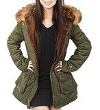 iLoveSIA (アイラブシア) レディーズ コート ダウン ジャケット 防寒服 裏ボア フード付き 深緑 S「M実物サイズタグ」