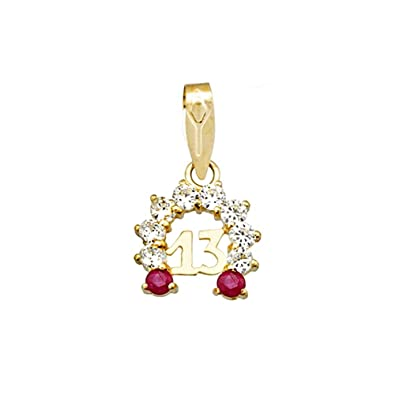 18k gold pendant 13 zircons ruby ??horseshoe amulet luck [AA4842]