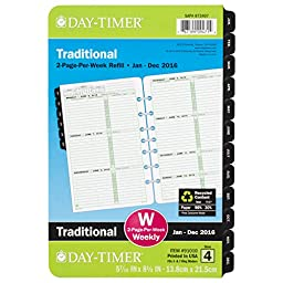 Day-Timer Weekly Planner Refill 2016, Two Page Per Week, Page size 5.5 x 8.5-Inches (910101601)