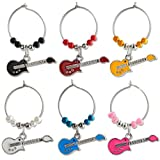 Enamel Guitars My Glass Identifier Charms, Sets of 6