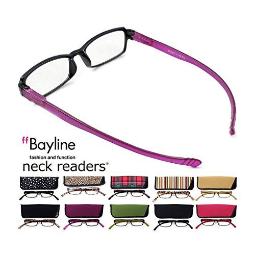 ベイライン ネックリーダーズ Bayline neck readers PC機能付き リーディンググラス(老眼鏡) +1.00 イエロー(ストライプ柄)