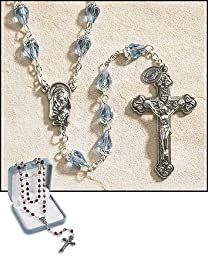 24 Inches Long, 2 Inches Crucifix Ave Maria Light Blue Tears of Mary Rosary, 10 X 6 Mm Crystal Bead by Ave Maria