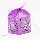 Imported 50x Heart Flower Hollow Out Candy Gift Boxes With Bow Ribbons Decor Purple