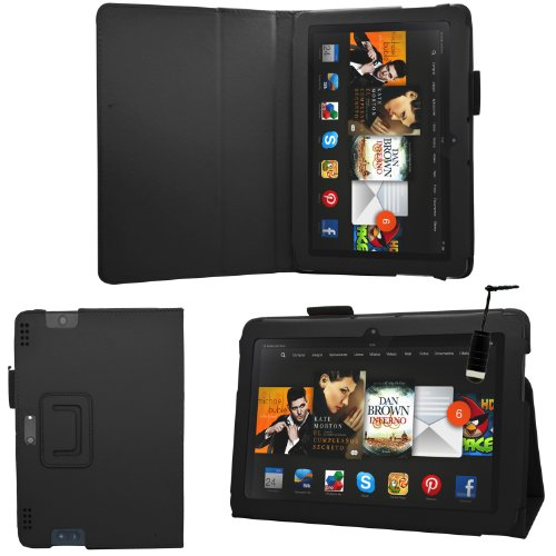 """Samrick - Amazon Kindle Fire Hdx 8.9"""" Inch - Executive Specially Designed Leather Book Folio Wallet Case With Exclusive Viewing Stand & Screen Protector/Foil/Film/Guard & Microfibre Cloth & High Capacitive Mini Stylus Pen - Black"""