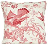 Bird On a Tree Decorative Throw Pillow Case Red Pattern Cushion Cover Marvic Textile Paradisiers Exotic Design