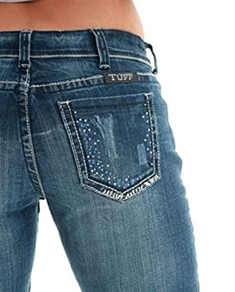 Cowgirl Tuff Jeans Womens Midnight Blue Crystal 25 X-Long Med JMDTBL