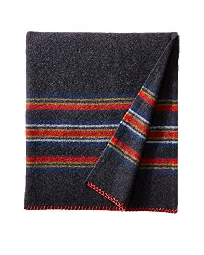 bambeco Rugby Stripe Wool Throw, Violet