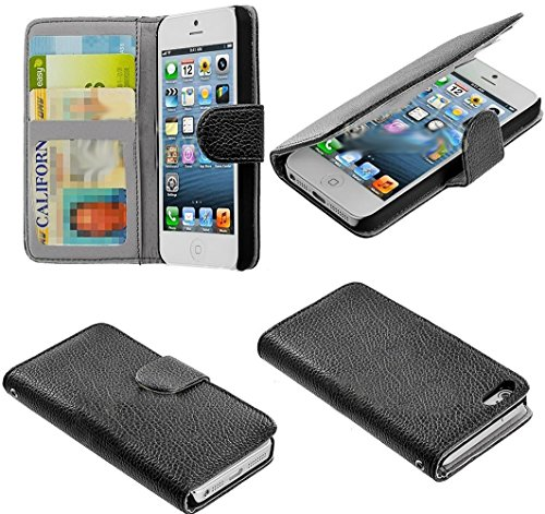 Mylife Crocodile Black - Classic Design - Textured Koskin Faux Leather (Card And Id Holder + Magnetic Detachable Closing) Slim Wallet For Iphone 5/5S (5G) 5Th Generation Smartphone By Apple (External Rugged Synthetic Leather With Magnetic Clip + Internal