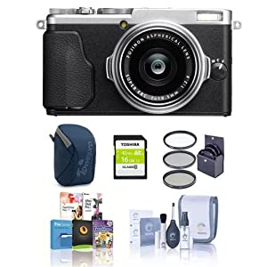 Fujifilm X70 Digital Camera, Silver - Bundle With 16GB SDHC Card, Camera Case, 49mm Filter Kit, Cleaning Kit, Software package