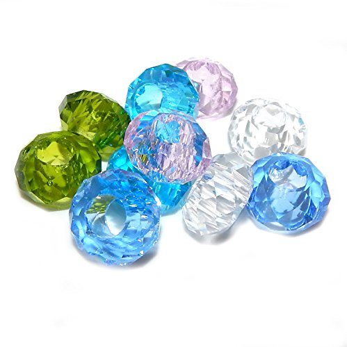 Pro Jewelry Pack of 10 Assorted Cut Acrylic Glass Beads Charms for Bracelets 03428