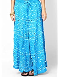 Soundarya Women Cotton Skirts -Blue -Free Size